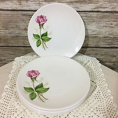 Knowles USA Shabby Cottage Pink Rose Bread Side Plates Set of Six