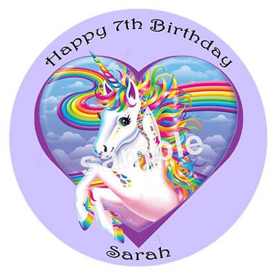 Rainbow Unicorn Edible Wafer Paper Party Cake Decoration Image Topper