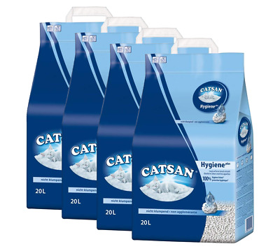 4X 20L Cat Litter Hygiene Plus Non-Clumping Highly Absorbent Fast Odour Control