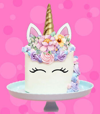 🌟 Unicorn Gold Horn Ears Flowers Edible Stand Up Cake Topper Image Decoration