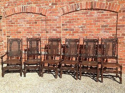 ANTIQUE 17th CENTURY WILLIAM & MARY JACOBEAN CHAIRS WITH CANE SEATS & BACK