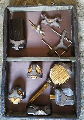 Antique Leather Men's Traveling Toiletry Grooming Kit