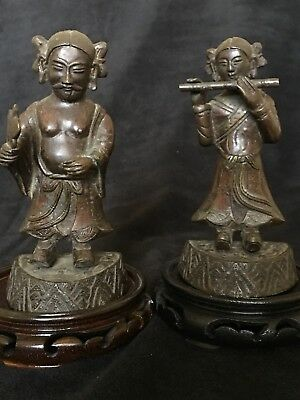 A Pair Of Chinese Ming Dynasty Bronze Figures Of Immortal
