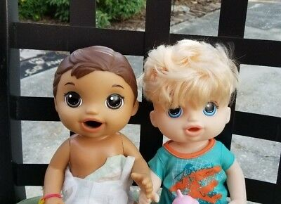 Baby Alive Lot 2 Boy Dolls Sweet Spoonfuls Baby Doll Boy Snacking Luke 11 77 Picclick