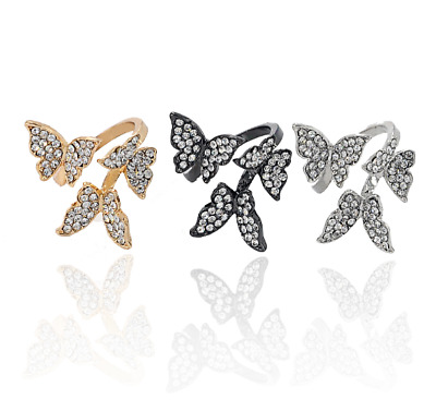 NEW Stunning Crystal Triple Butterfly Statement Ring, Gold or Silver, UK Seller