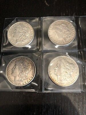 Lot Of 4 Liberty Head Morgan Silver Dollar From 1880, 1881, 1890, 1891