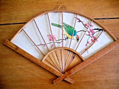 Hand Painted Cloth & Bamboo Vintage Oriental Fan