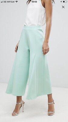 ASOS Mint Green Cropped Wide Leg Trousers Culottes - Size 10