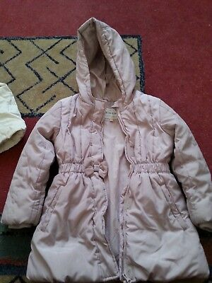 girls dusty pink marks and spencer jacket / coat 6-7yrs old used condition