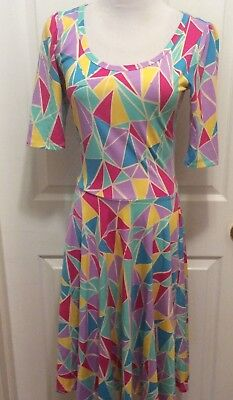 Lularoe Dress S Blue Yellow Pink Purple Triangle Stained Glass Print Nicole
