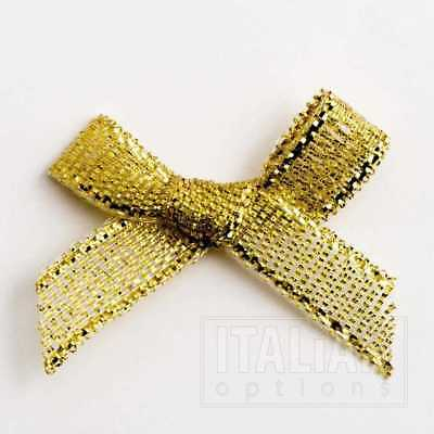 Small 3cm Wide Lurex Pre-Tied Bows-Pkt of 10/100-Metallic Gold/Silver-6mm Ribbon