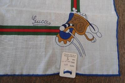 NWT Vintage Small Scarf Italian Designer Horse Saddle Equestrian Hanky Gucci