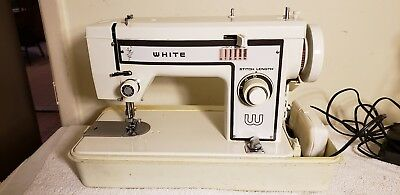 Vintage White Stitch Length Sewing Machine with Case