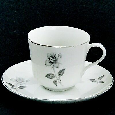 Queen Royal Teacup and Saucer Fine China Rose Platinuim