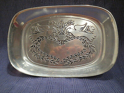 Vintage Wilton Pewter Small Serving Dish Bread Tray Heart & Love Birds Free ship