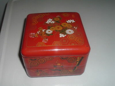 """Large Chinese Red Enamel Hand Painted Lacquer 2 Drawer 6.5"""" Box"""