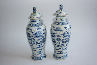 2 Pcs Antique Chinese Porcelain Blue and White Dragon Vase with Lid - Marks