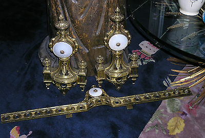 Vintage 1940s French Gold Bronze & Alabaster Chenets Andirons w/matching Fender