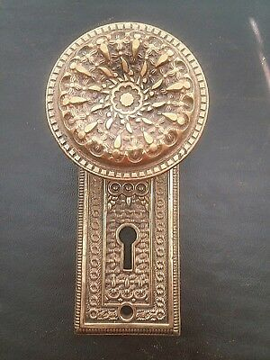 Antique Victorian Brass Bronze Door Knob + Back Plate Reading RHC Elaine D 12400