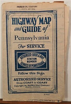 1930's Highway Guide to Pennsylvania Mid West Maps road map travel brochure b