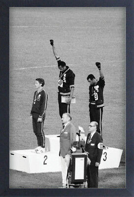 1968 OLYMPICS BLACK POWER SALUTE 13x19 FRAMED GELCOAT POSTER FIST STRENGTH ICON!