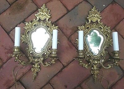 Pair Of Italian Brass Mirrored Electrified Candle Wall Sconces