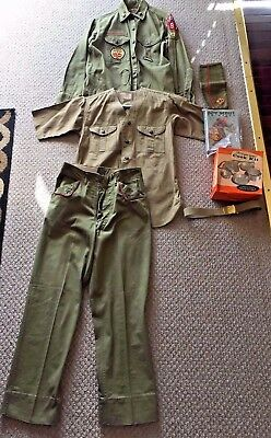Vintage 1950s BOY SCOUTS lot Uniform SWEET ORR Sanforized Patches PANTS Mess kit