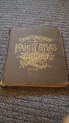 CRAM'S UNRIVALED FAMILY ATLAS OF THE WORLD / INDEXED 1886 by GEO F. CRAM