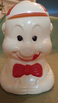 Vintage Porky Pig Plastic White Red Christmas Cookie Jar cannister