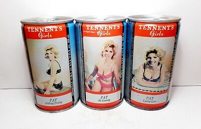 """TENNENT'S GIRLS """"Pat"""" (3) Beer Cans 333 ml Straight Steel from Scotland"""