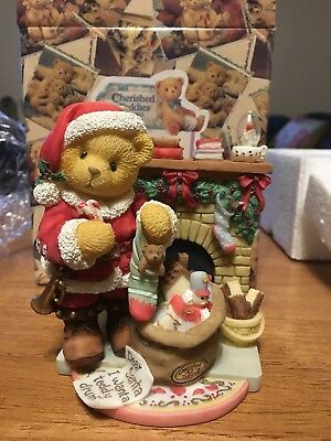 Cherished Teddies SANTA SANFORD at FIREPLACE CELEBRATE TRADITIONS  Enesco 534242