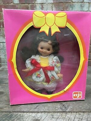 Vintage Ceji Camille Doll Boxed Made in France Brunette White Flowery Dress+Bows
