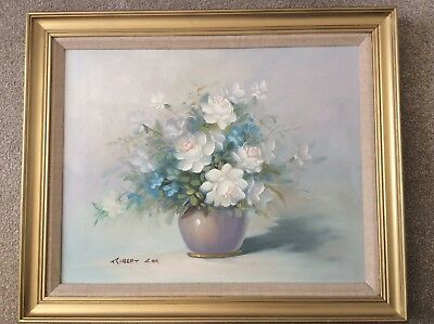 Original Oil Large Painting on Canvas Robert Cox Framed Still Life Flowers Vase