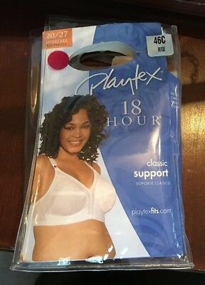 3976b151fd NEW Playtex 18 Hour Soft Cup WIREFREE Bra CLASSIC SUPPORT - 20 27 46C BEIGE