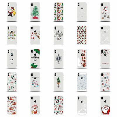 Xmas Christmas Soft Shell Coloured Drawing Case Cover For iPhone 6 7 8 XR XS MAX