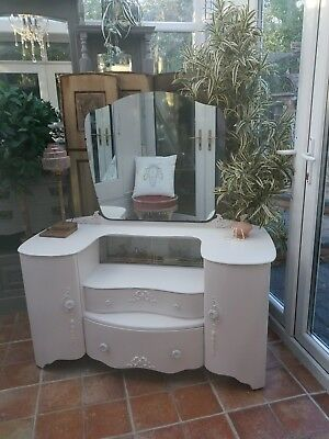 Pretty Vintage Painted Dressing Table Glass Display Compartment Shabby Chic