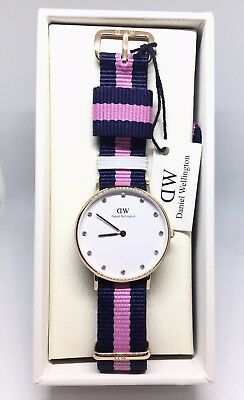 afeb45cf8f51 DANIEL WELLINGTON CLASSY Winchester Rose Gold S S Watch With Blue Pink Band  NEW