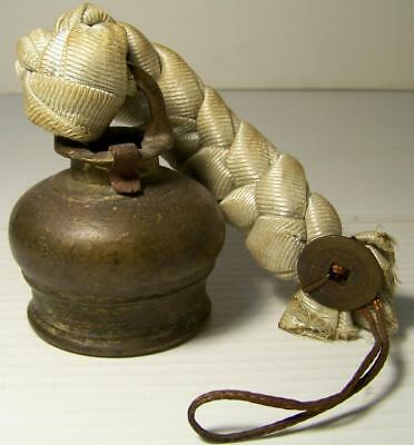 Antique ASIAN BRASS BELL w/ BRAIDED CLOTH STRAP & CHINESE TOKEN Rare Shape