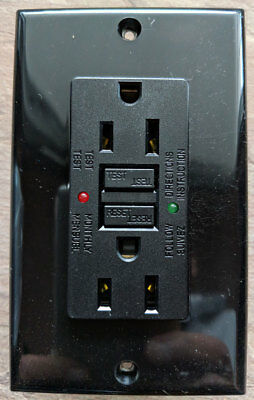 15A GFCI SAFETY OUTLET with LED - BLACK - CO-GF15BK-2L 2 Pole 3 Wire