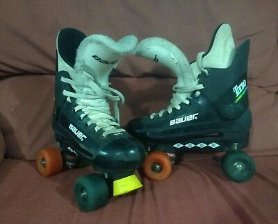 Original Bauer Turbo Quad Roller Boots Skates size 6 sims street snake wheels