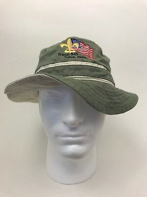 Boy Scout Bucket Hat Embroidered S/M Troop 945 Tulsa OK Camping Flag Fleur de