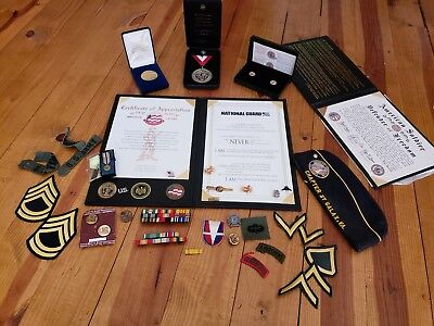 Huge Men's Military Lot Medals Certificates Insignia Rank Etc