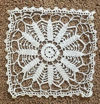 "Crocheted White Fancywork Doilies, Lot of 3, 9"" and 8"" round and 6"" square"