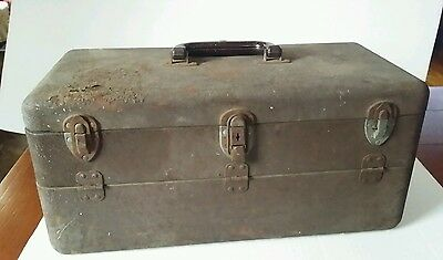 Vintage metal fishing tackle box rusty