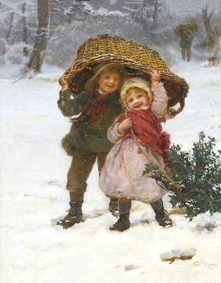 Children in Winter Basket and Christmas Tree by Frederick Morgan