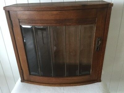 Leaded Beveled Glass Bow Front  Wall Cabinet