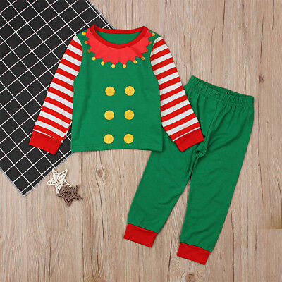 Toddlers Kids Girls Boys Xmas Pajamas Sleepwear Tops+ Pants Clothes Elf Outfits