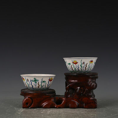 China antique Porcelain Ming Chenghua famille rose Lotus pond lotus flower Cup
