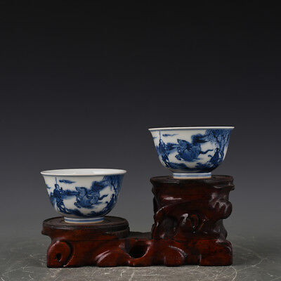 A Pair China old antique Porcelain Qing Kangxi Blue & white charaters Horse Cup
