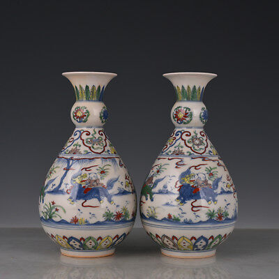 "9"" China old antique Porcelain ming chenghua famille rose Kylin Songzi Vase"